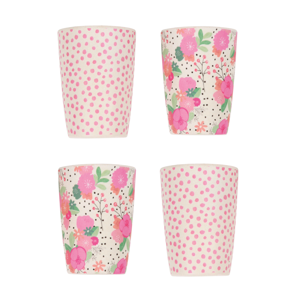 4pk Tumblers im bloom and Pink Spot