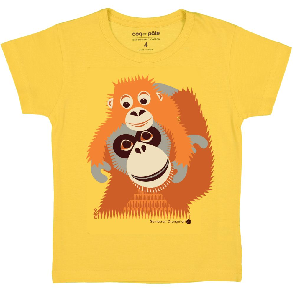 Tshirt MC oranguntan YELLOW, 2Y