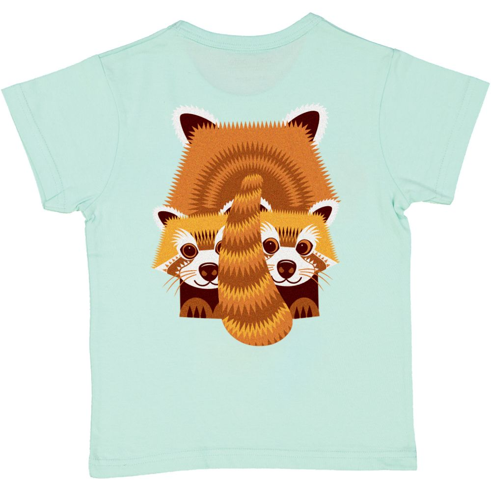 Tshirt MC panda roux BLUE MINT, 8Y